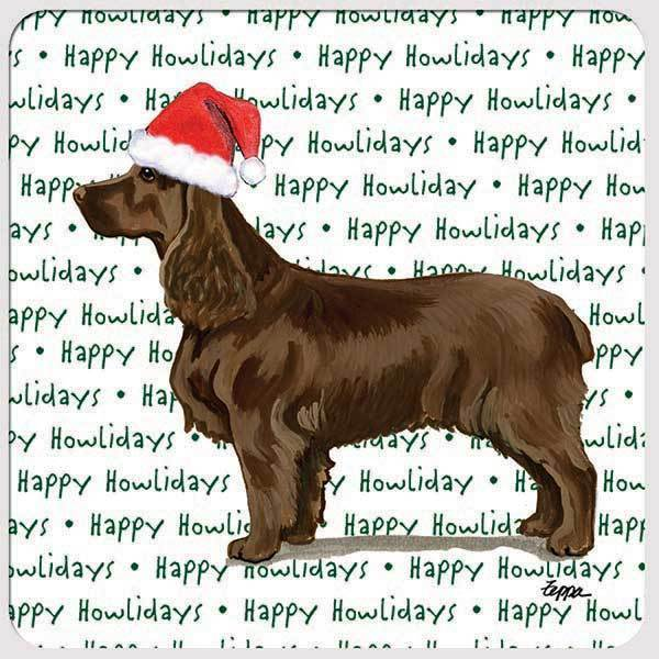 "Field Spaniel ""Happy Howlidays"" Coaster"