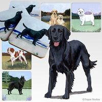 Flat Coated Retriever Scenic Coaster
