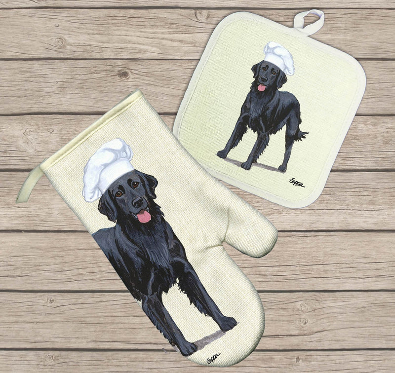 Flat Coated Retriever Oven Mitt and Pot Holder