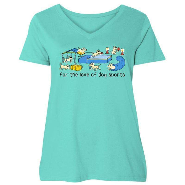 For The Love Of Dog Sports - Ladies Curvy V-Neck Tee