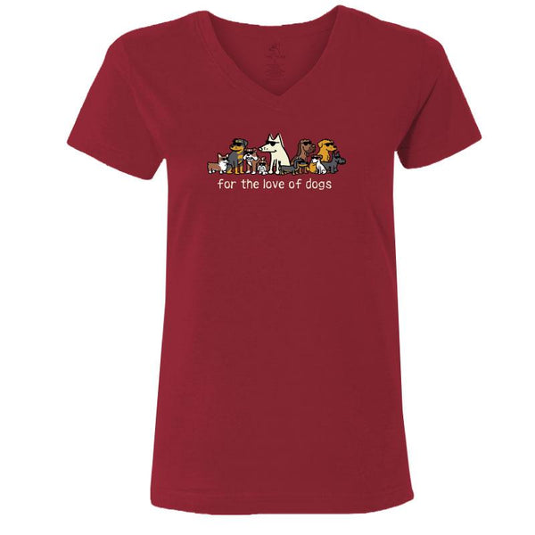 For The Love Of Dogs - Ladies T-Shirt V-Neck Red