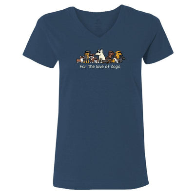 For The Love Of Dogs - Ladies T-Shirt V-Neck Blue