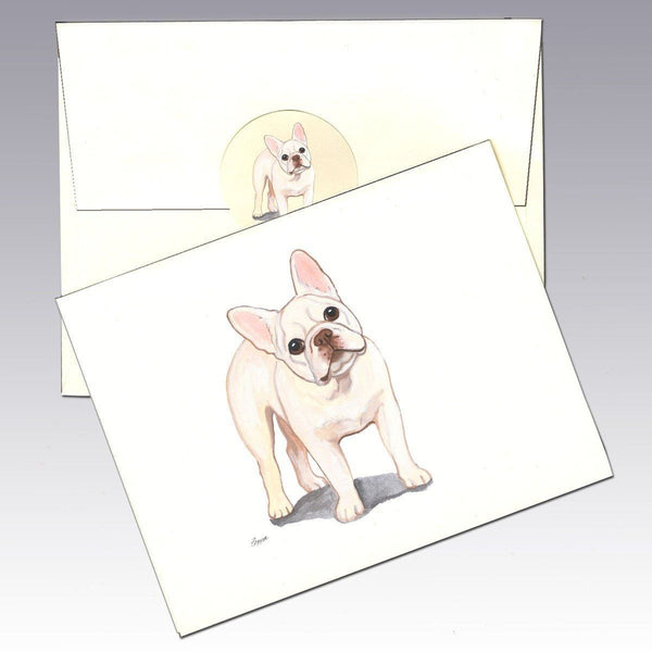 French Bulldog, Creme (or Buff) Note Cards