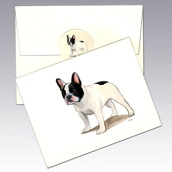French Bulldog, Black and White Note Cards