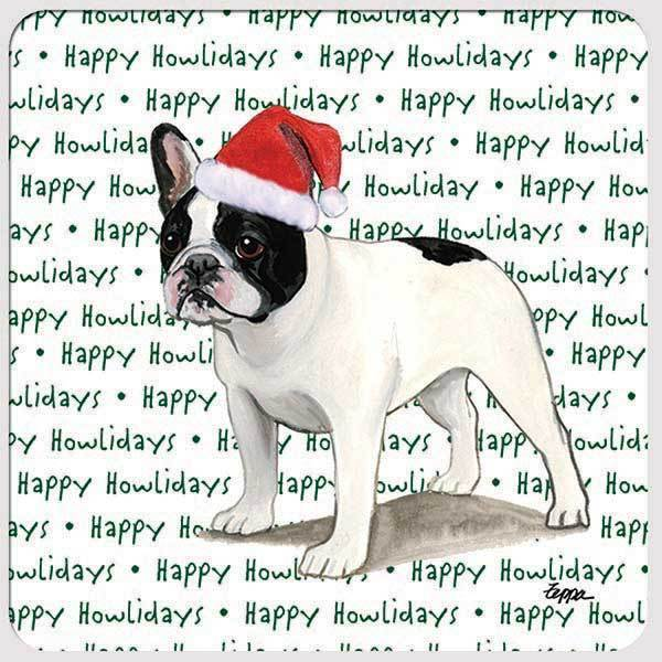 "French Bulldog, Black and White ""Happy Howlidays"" Coaster"