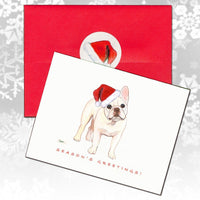 French Bulldog, Creme (or Buff) Christmas Note Cards