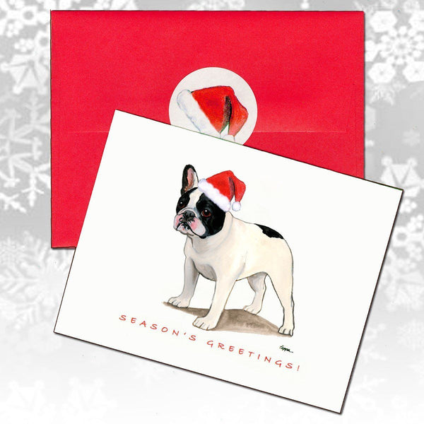 French Bulldog, Black and White Christmas Note Cards