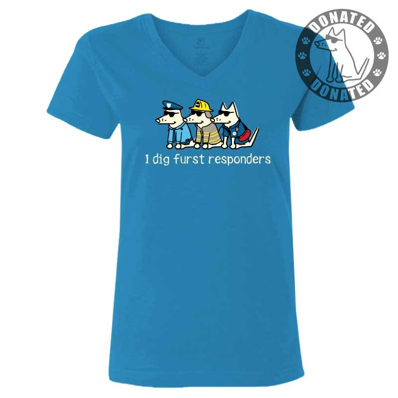 I Dig Furst Responders Ladies T-Shirt V-Neck
