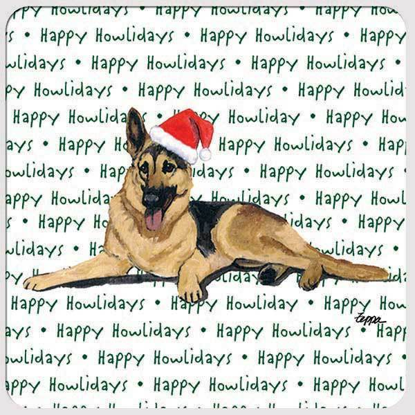 "German Shepherd Dog ""Happy Howlidays"" Coaster"