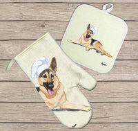German Shepherd Dog Oven Mitt and Pot Holder