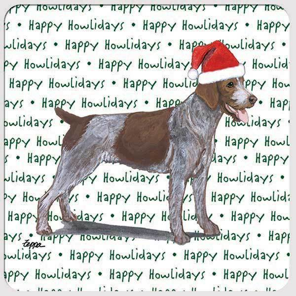 "German Wirehaired Pointer ""Happy Howlidays"" Coaster"