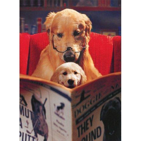 Dogs Reading Paper - Father's Day Card