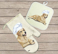 Golden Retriever Oven Mitt and Pot Holder