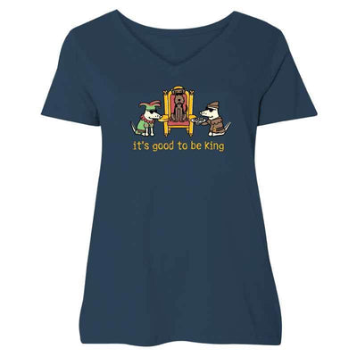 It's Good To Be King  - Ladies Curvy V-Neck Tee