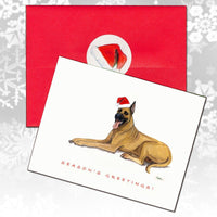 Great Dane, Fawn Christmas Note Cards