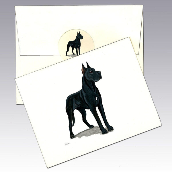 Great Dane, Black Note Cards
