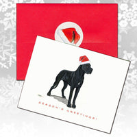Great Dane, Black Christmas Note Cards