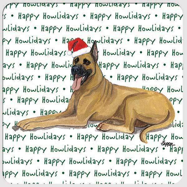 "Great Dane, Fawn ""Happy Howlidays"" Coaster"