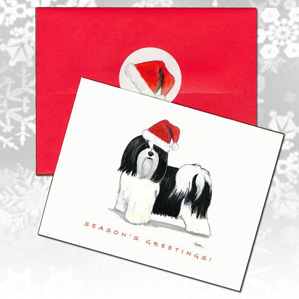 Havanese, Black and White Christmas Note Cards