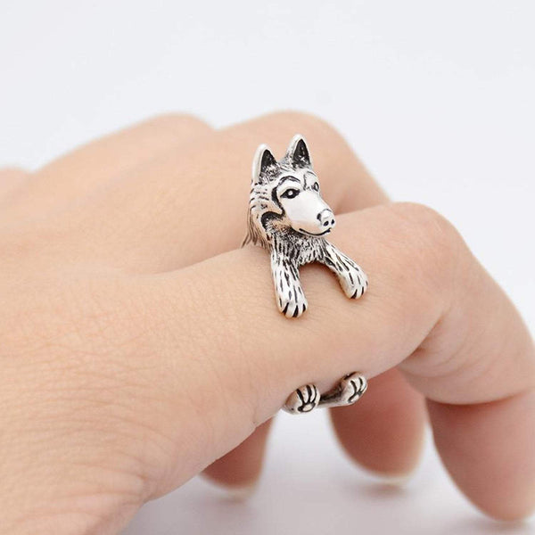 Siberian Husky Wrap Ring