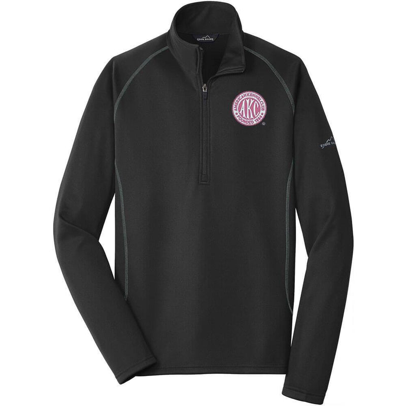 AKC Breast Cancer Awareness Embroidered Eddie Bauer Mens Quarter Zip Pullover Fleece