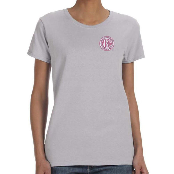 AKC Breast Cancer Awareness Embroidered Ladies T-Shirt