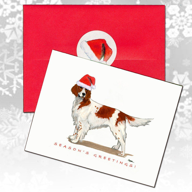 Irish Red and White Setter Christmas Note Cards