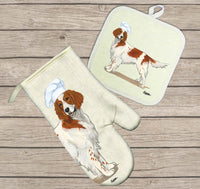 Irish Red and White Setter Oven Mitt and Pot Holder