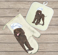 Irish Water Spaniel Oven Mitt and Pot Holder