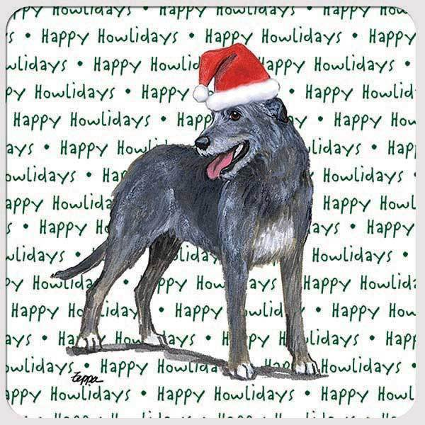 "Irish Wolfhound ""Happy Howlidays"" Coaster"