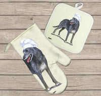 Irish Wolfhound Oven Mitt and Pot Holder
