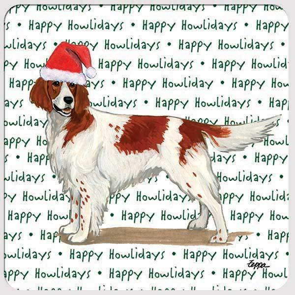"Irish Red and White Setter ""Happy Howlidays"" Coaster"