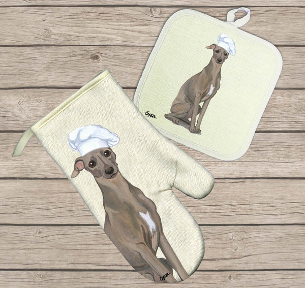 Italian Greyhound Oven Mitt and Pot Holder