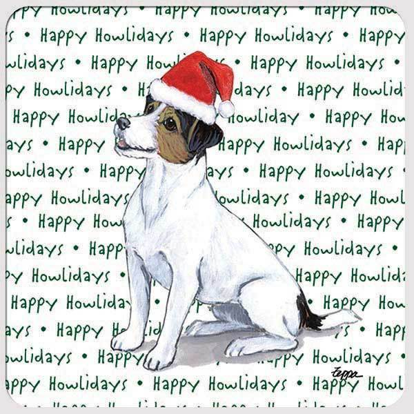 "Russell Terrier, Tri Color ""Happy Howlidays"" Coaster"