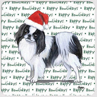 "Japanese Chin, Black and White ""Happy Howlidays"" Coaster"