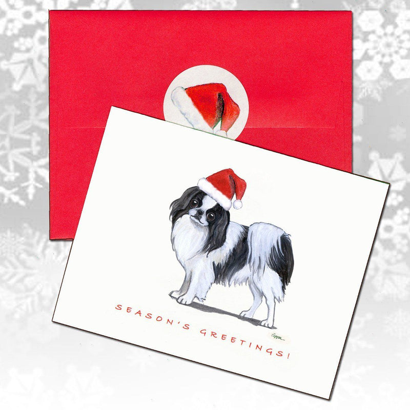 Japanese Chin, Black and White Christmas Note Cards