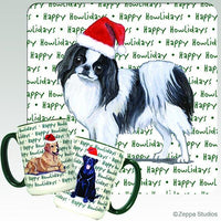 Japanese Chin, Black and White Holiday Mug
