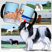 Japanese Chin, Black and White Scenic Mug
