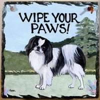 Japanese Chin, Black and White Slate Sign