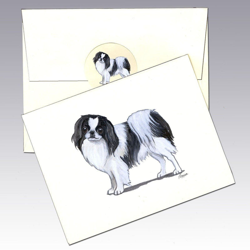 Japanese Chin, Black and White Note Cards