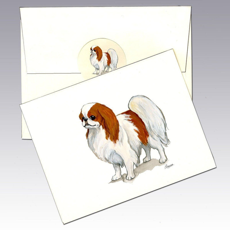 Japanese Chin, Red and White Note Cards