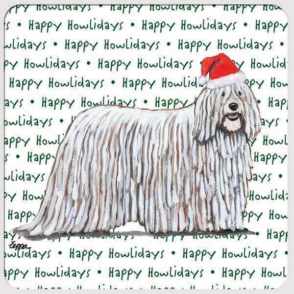 "Komondor ""Happy Howlidays"" Coaster"