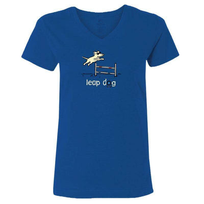 Leap Dog - Ladies T-Shirt V-Neck