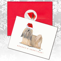 Lhasa Apso Christmas Note Cards