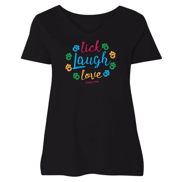 Lick, Laugh, Love - Ladies Curvy V-Neck Tee