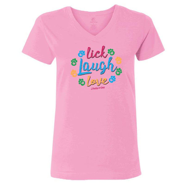 Lick, Laugh, Love - Ladies T-Shirt V-Neck