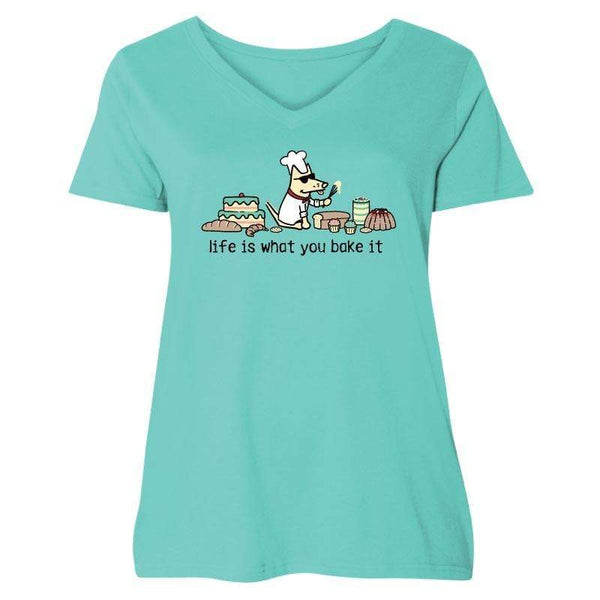 Life Is What You Bake It - Ladies Curvy V-Neck Tee