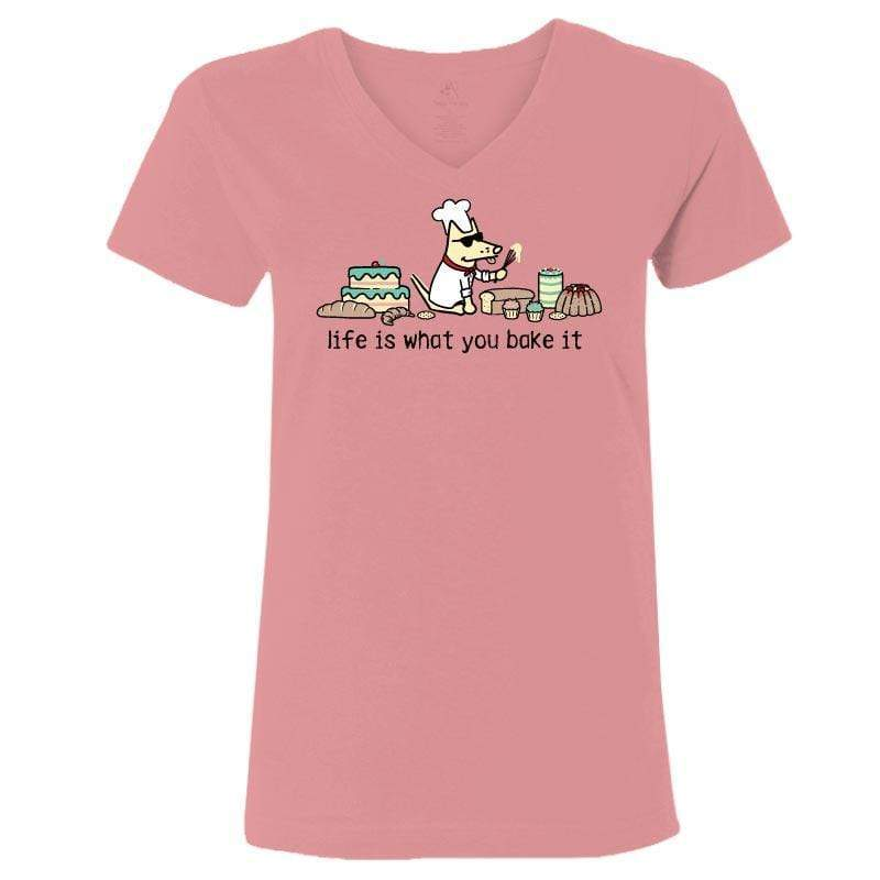Life Is What You Bake It - Ladies T-Shirt V-Neck