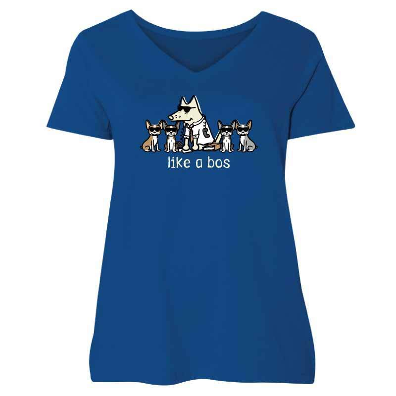 Like a Bos - Ladies Curvy V-Neck Tee