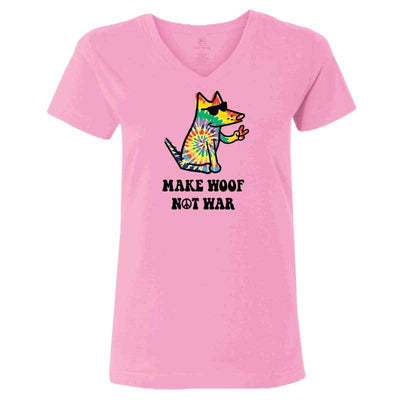 Make Woof, Not War - Ladies T-Shirt V-Neck